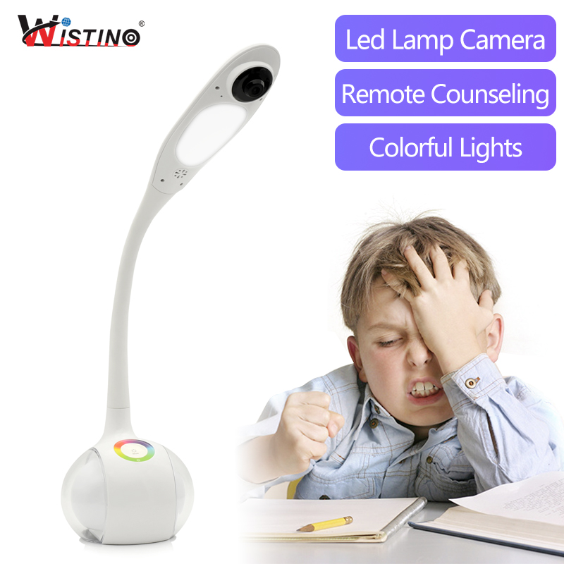 Wistino HD 720P CCTV WiFi Table Lamp Camera IP Smart Home Desk Camera Wireless Security Video Baby Monitor P2P Led Light Remote smart led table lamp desk lamp with wifi ip camera app for android ios phone hd1080p video camera audio recording