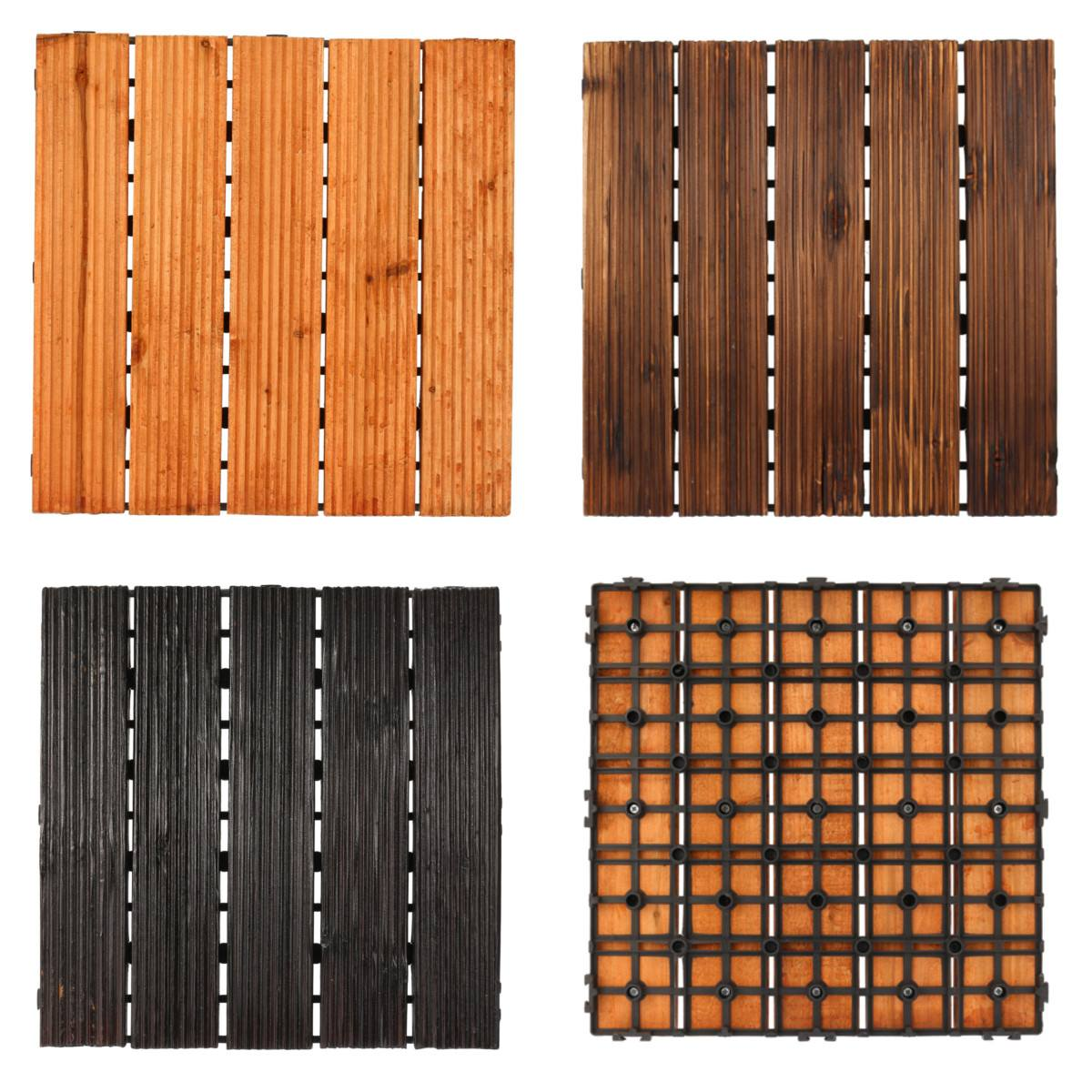 DIY Wood Patio Interlocking Flooring Decking Tile Indoor Outdoor Garden Floor Decoration Furniture Accessories 3 Colors 30x30cm