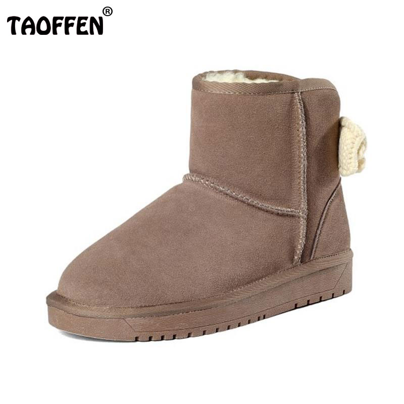 TAOFFEN Women Real Leather Winter Warm Snow Boots With Thick Fur Winter Shoes Women Bowknot Platform Flat Botas Size 34-39 rizabina cold winter snow shoes women real leather warm fur inside ankle boots women thick platform warm winter botas size 34 39