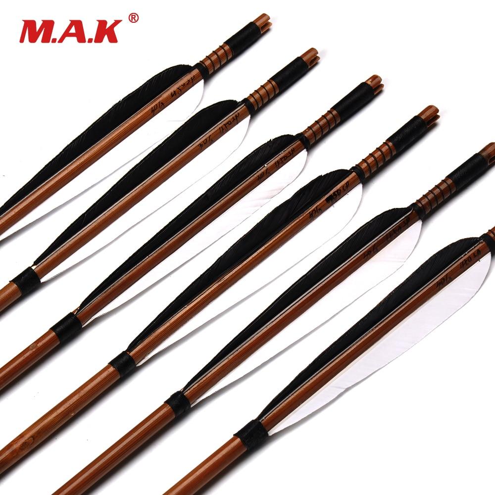 """6/12 / 24pcs Spine 450 Bambu Panah 32 """"Panjang dengan 2 Putih 1 Black Turquoise Feather OD 7.8mm untuk Kompaun Bow Memburu Memanah"""