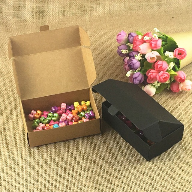 Christmas Party Gift Ideas.50pcs Lot Natural Brown And Black Gift Box For Wedding Birthday And Christmas Party Gift Ideas Good Quality For Cookie Candy Bo In Gift Bags