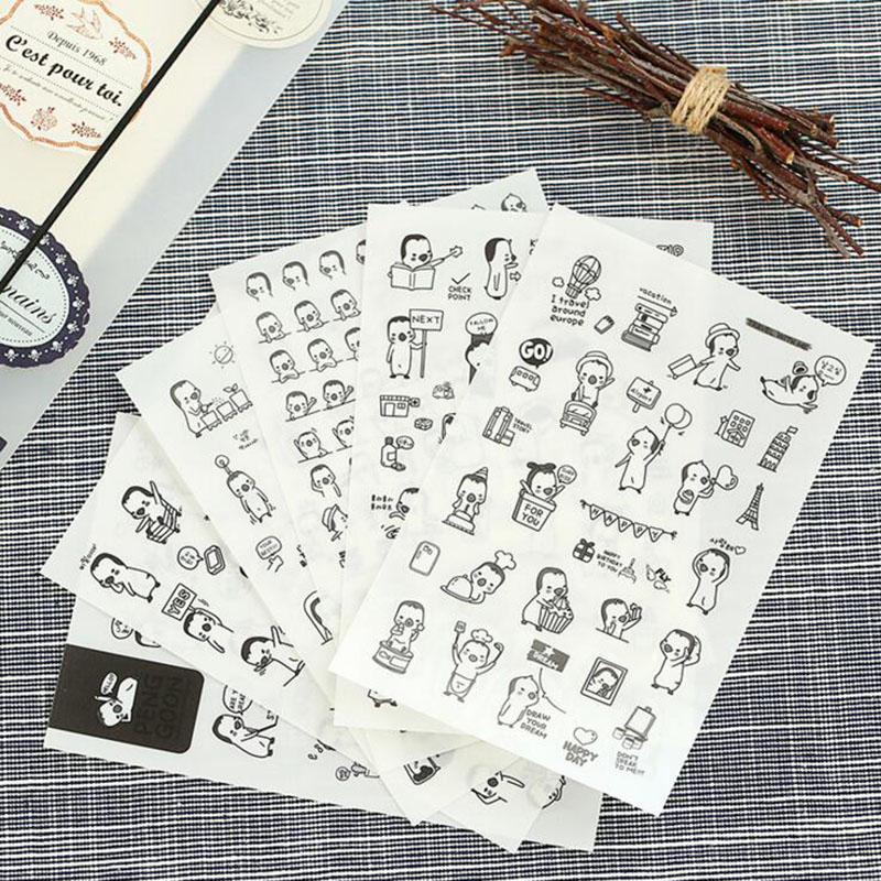 6 Sheets /Pack Lovely Cartoon Penguin Stickers Phone Computer Diary Adhesive Decor Stick Label Student Stationery DIY Craft