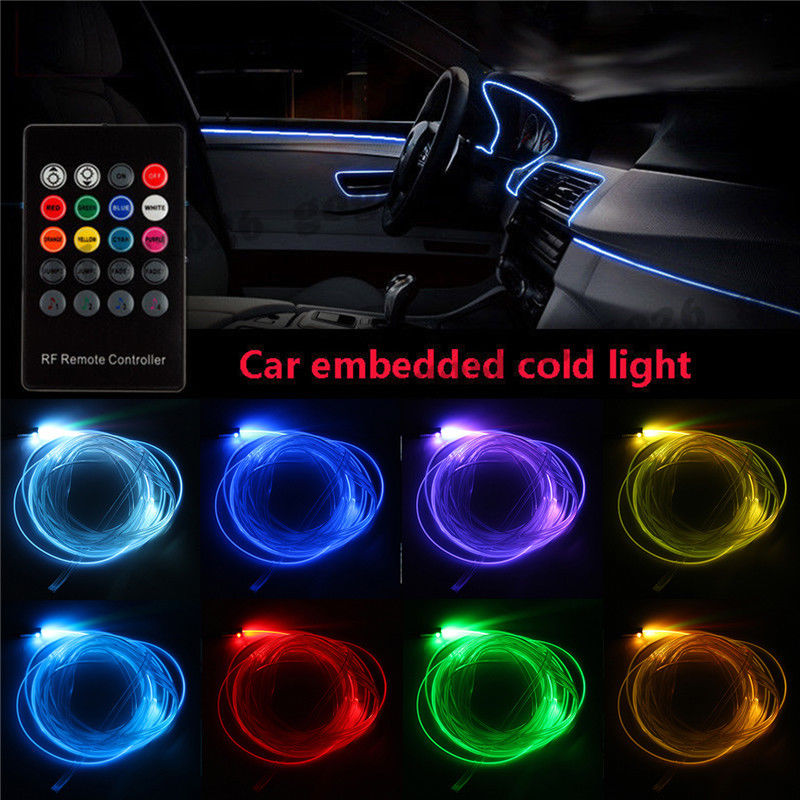 AutoEC 1 Set RGB LED Car Interior Neon EL Wire Cold Light Strip Sound Active Decorative Lamp Remote Control #LQ1287 new 1 set colorful rgb led car interior neon el wire strip light auto dashboard decorative lamp sound active app control