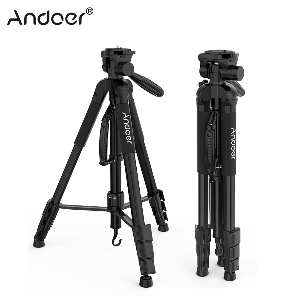 Andoer TTT 663N Travel Lightweight Camera Tripod for Photography Video Shooting DSLR SLR Camcorder with Carry