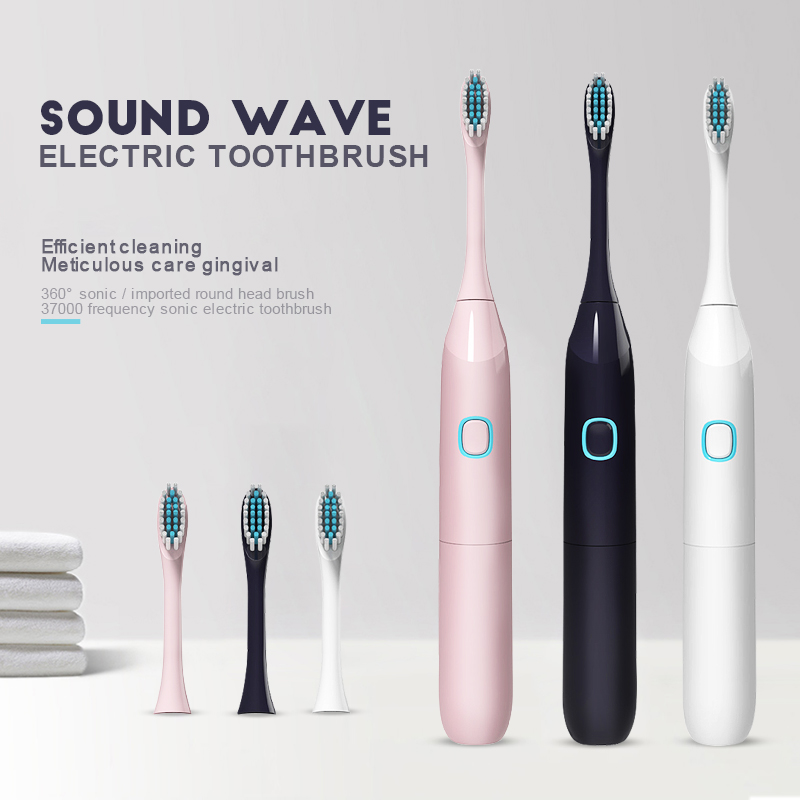 Electric Toothbrush Waterproof Battery Toothbrush Powerful Sonic Brush with 3 Replacement Brush Heads Adults Travel 45D image