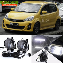 eeMrke Car Styling DRL For Perodua Myvi 2011 2012 2 in 1 LED Fog Light Lamp With Q5 Lens Daytime Running Lights