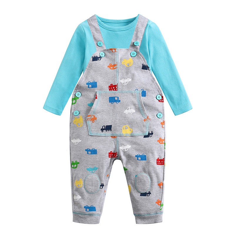 Picturesque Childhood Printed Car Cartoon Baby Boy Clothing Double Set Suspenders Trousers Pants Style Strap Baby's Set one set leather welding strap trousers