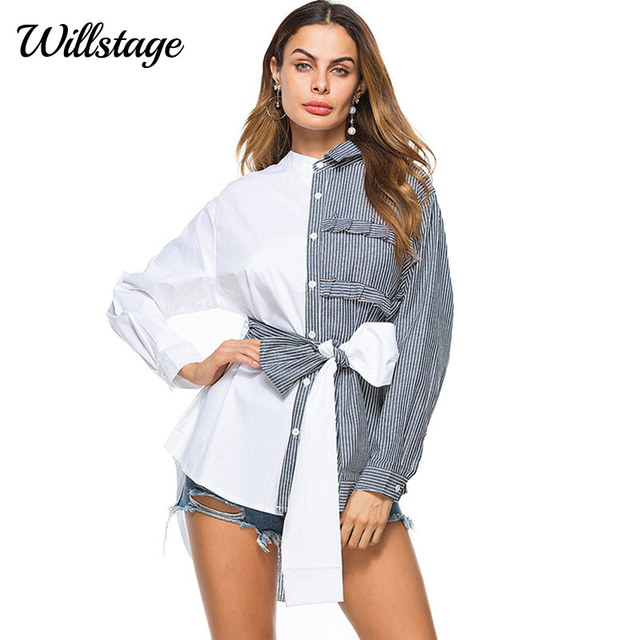 59224b7bb58 Willstage Women Long Blouses Striped Patchwork Waist Bow Lace up Shirts  Front Back Button Novelty Tops