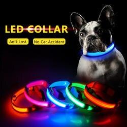 Зарядка через usb светодио дный ошейник Anti-Lost/избежать автомобильной аварии ошейник для собак щенков собачьи ошейники светодио дный
