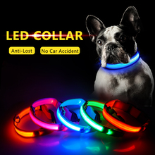 USB Charging Led Dog Collar Anti-Lost Avoid Car Accident Collar For Dogs Puppies Dog Collars Leads LED Supplies Pet Products cheap SEASENXI Basic Collars NYLON All seasons Solid Reflective Quick Release LIGHTS XS S M L XL Please choose the size depend on the neck