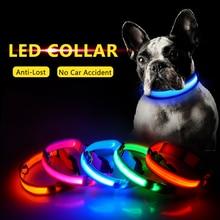 Зарядка через usb светодиодный ошейник для собак, функция «антипотеря/Избегайте автомобильной аварии, ошейник для собак, щенков, ошейник LED снабжение товары для домашних животных