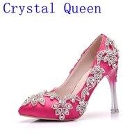 الكريستال ملكة الأزياء حجر الراين مضخات الكعوب الزفاف أحذية للنساء منصة أسافين عالية الكعب أحذية الزفاف الأبيض
