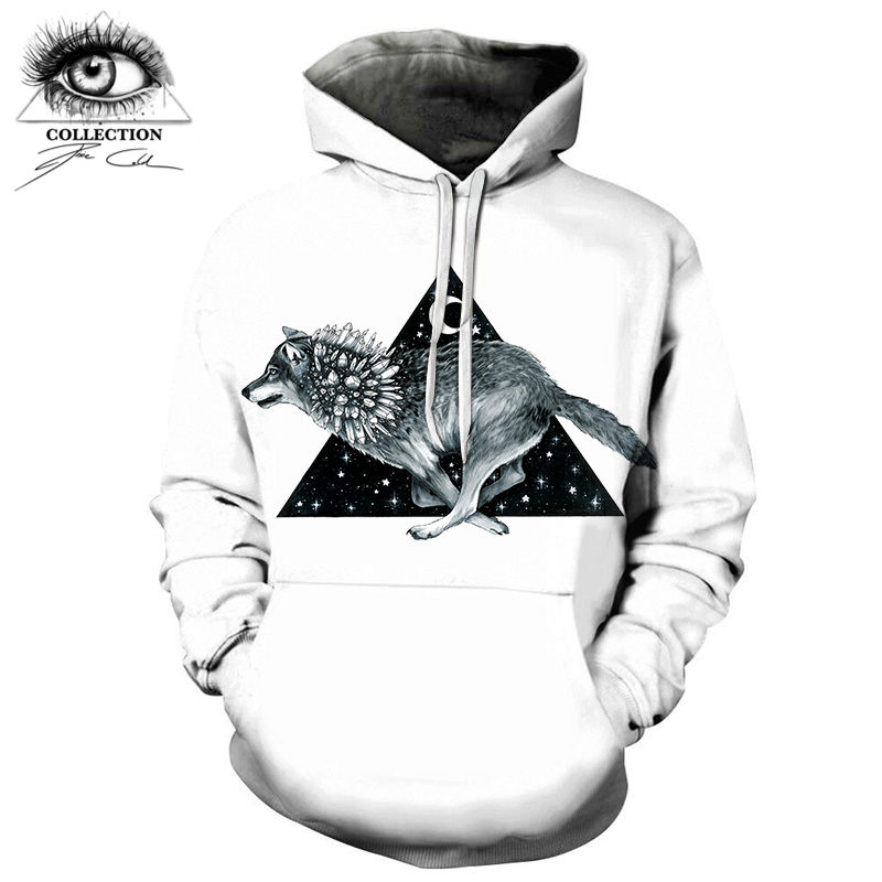 Wolf Men Hoodies Casual Sweatshirts White Triangle Drop Ship pixie cold artist 3D Tops Brand Pullover Streetwears ZOOTOP BEAR