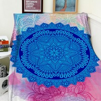 Blankets Soft Plush Super Warm Sofa Bed Blanket Thorw Psychedelic Blue Mandala Personality Pattern Thick Thin Cobertor Plaid
