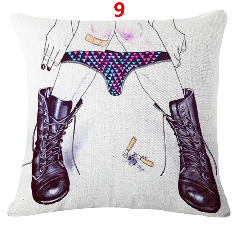Maiyubo Linen Cotton Sexy American Women Cushion Cover Colorful Beauty  Pillows Cover Throw Pillow Cases Cheap Available PC296 e7b7dea7c