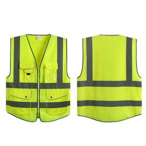 Image 4 - EN 20471 ANSI/SEA High Visibility Zipper Front Safety Vest With Reflective Strips construction safety reflective vest