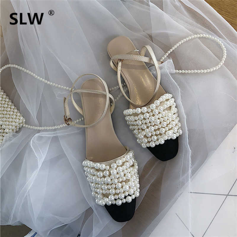 rhinestone sandals color matching Casual summer Rome strappy heels Buckle belt fastener String Bead soulier femme casual shoes