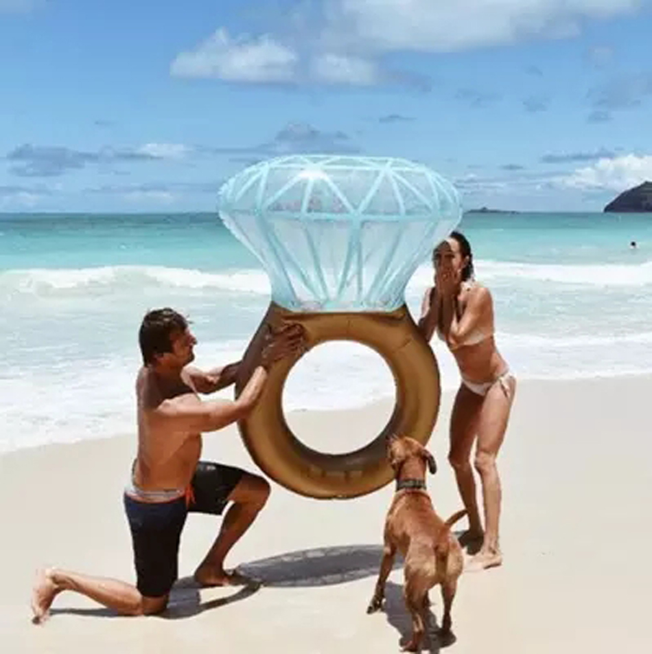 Inflatable Diamond Ring Giant Pool Float Inflatable Swim Ring Pool Floatie Boia Piscina Adult Diamond Swim Float Wedding Party