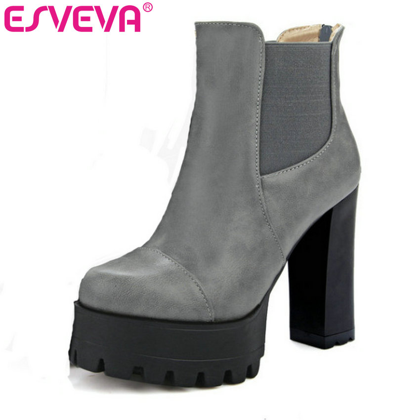 ESVEVA 2017 Autumn Punk Shoes Women Motorcycle Boots PU Zipper Square High Heel Ankle Boots Ladies Platform Boots Big Size 34-43