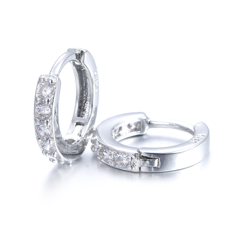 100% 925 sterling silver hot sell shiny cz zircon female ladies`stud earrings women gift wholesale cheap jewelry drop shipping