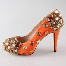 Creativesugar Handmade Orange crystal rhinestone beading woman wedding shoes bridal party prom pumps closed toe heels custom