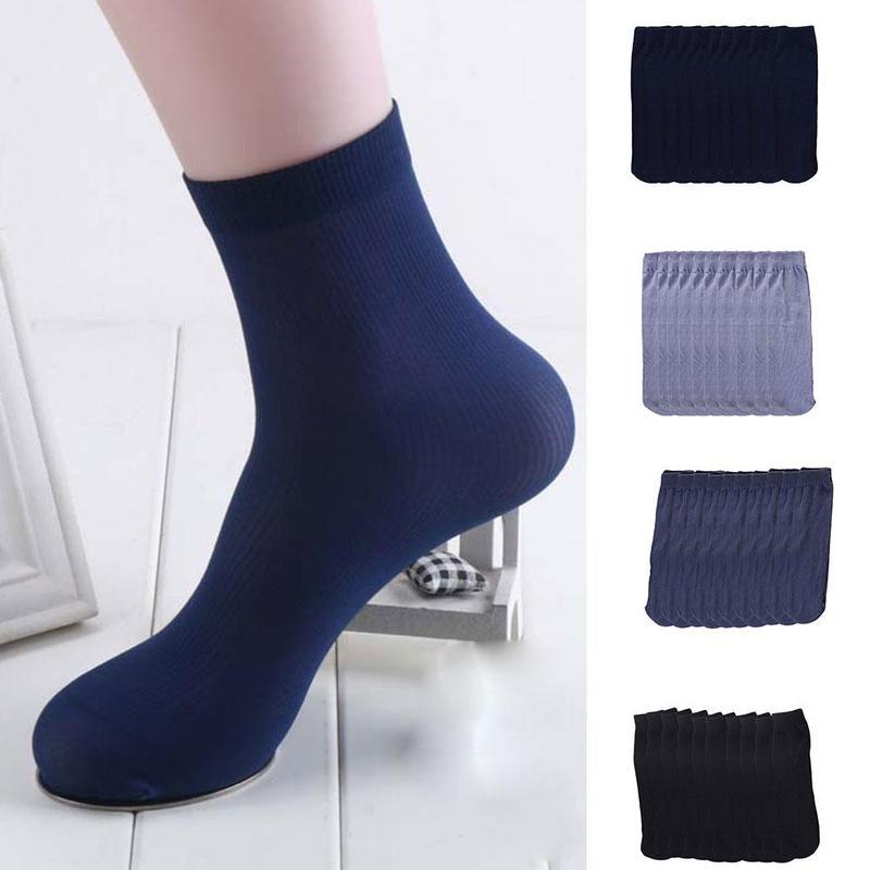 10 Pairs Socks Men One Size Ultra-thin Elastic Silky Short Silk Stockings Men Socks