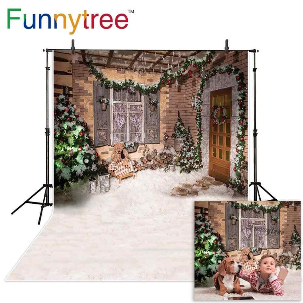 Funnytree photographie toile de fond neige hiver maison arbre de noël fête enfants nouveau fond photocall personnaliser photo imprimé