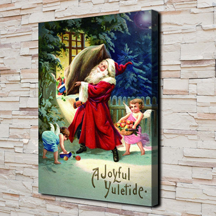 Generous H2143 Christmas Santa Claus And Child .hd Canvas Print Home Decoration Living Room Bedroom Wall Pictures Art Painting Christmas Cool In Summer And Warm In Winter Painting & Calligraphy Home Decor