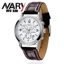 Nary amantes de los relojes de cuarzo relojes mujeres de los hombres de alta calidad de la marca de moda conmemorar reloj de cuero de la pu del reloj del calendario