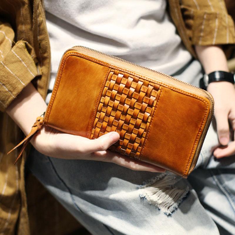 Flut Bjyl Hand Echtem Von Vintage Zipper Brieftasche Lange 1 Handgemachte Chucks Leder Große kapazität Geld Retro Männer Schicht rBrCxqX