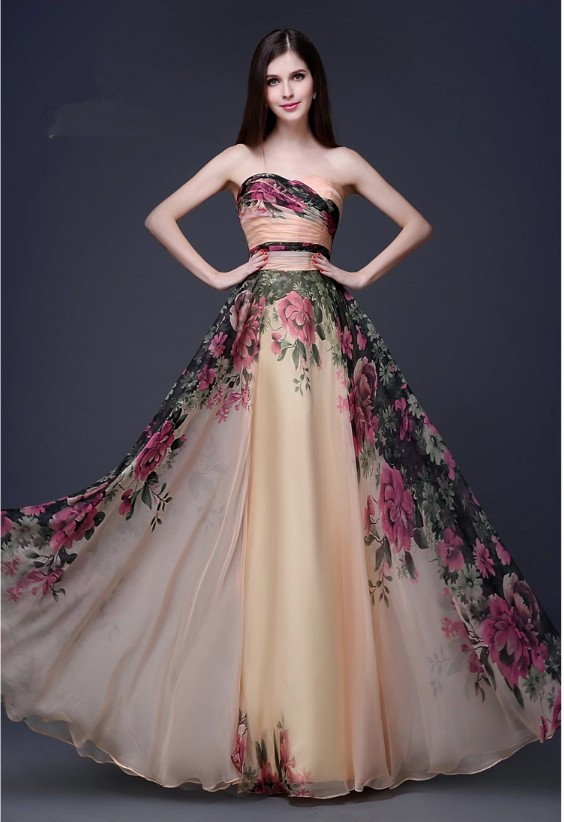19928805b3 Real Picture On Sale 2019 Sexy Winter Floor Length Chiffon Prom Gown Red  Carpet Flower Print Long Vintage Evening dresses TK561