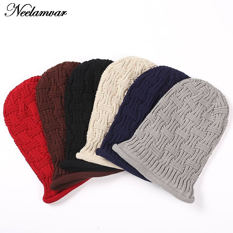 New  Winter Beanies Solid Color Hat Unisex Warm Grid outdoor Beanie Knitted Cap Hats Knitted  Gorro Caps For Men Women  цены