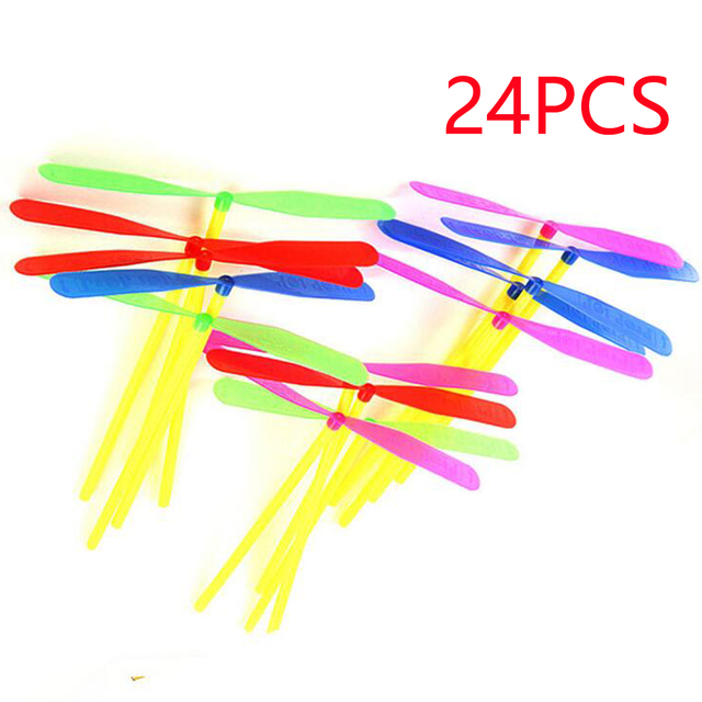 24pcs Novelty Plastic Bamboo Dragonfly Propeller Outdoor Classic Toy Kid Gift Rotating Flying Arrow Multicolor Random Color