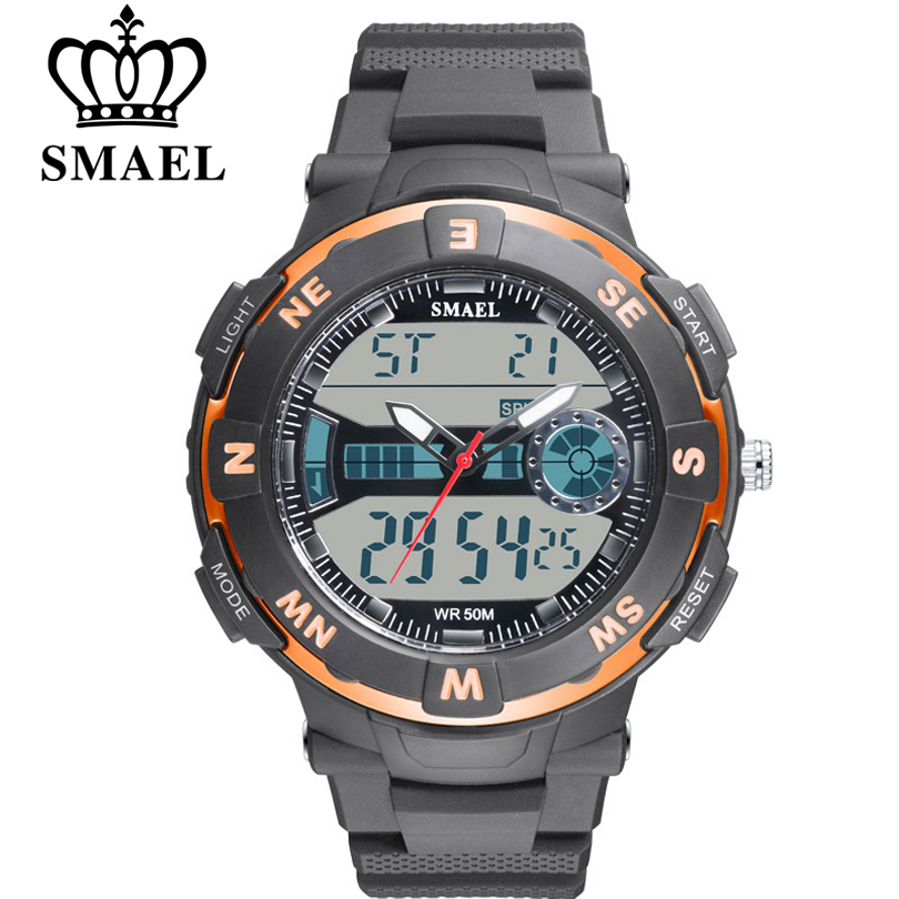 SMAEL Men Sports Watches Dual Display Watch Brand Electronic Quartz-Watch Male Analog Digital LED Students Waterproof Wristwatch 40mm diamond shape crystal glass door handle knob with screws for furniture drawer cabinet kitchen pull handle wardrobe