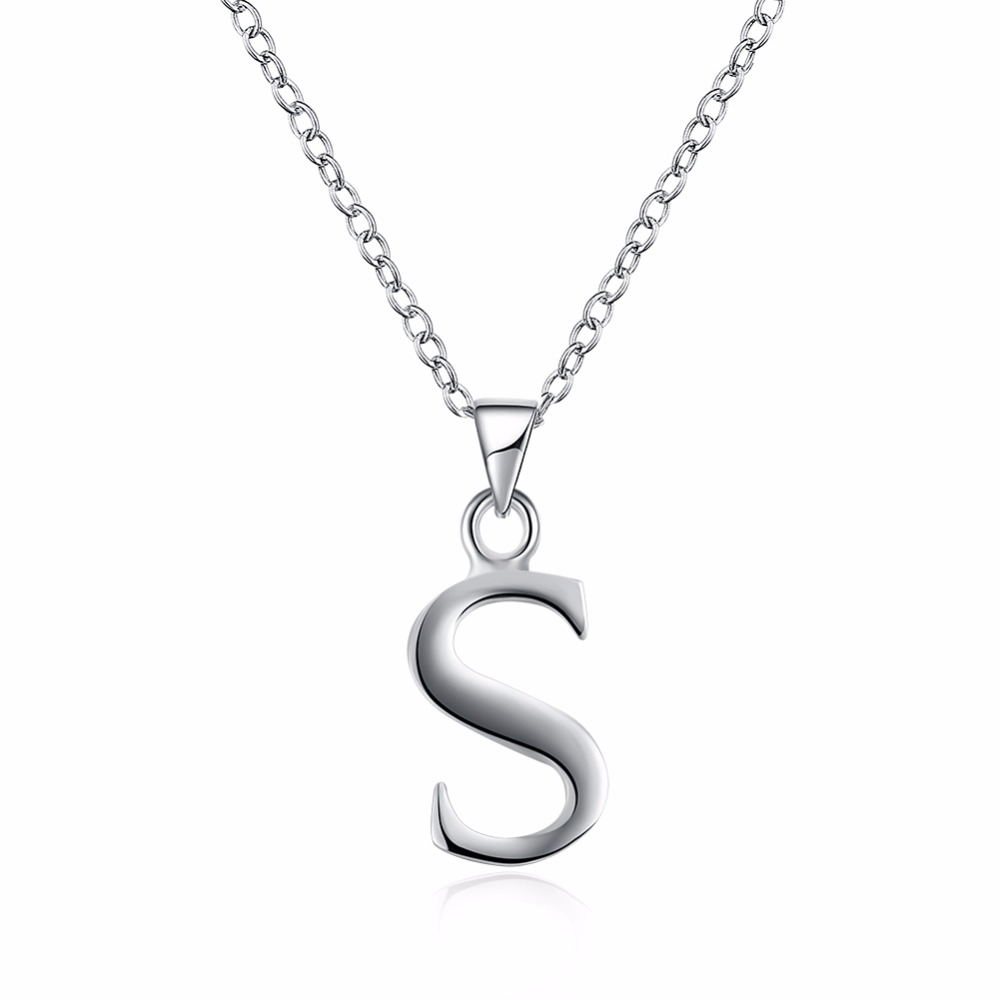 Hot is not allergic 925 sterling silver jewelry fashion classic letter pendant necklace  ...