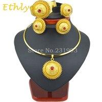 Комплекты ювелирных изделий Ethlyn, высококачественные комплекты ювелирных изделий золотого цвета для женщин в Африканском/эфиопском/эритре...