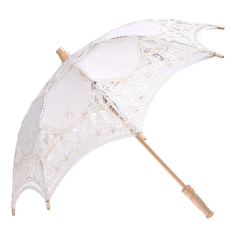 Lace Wooden Handle  Sun Umbrella Wedding Decoration Props