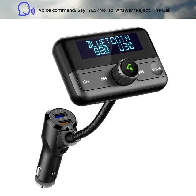 Bt75s 블루투스 fm 송신기 예/아니오 음성 제어 mp3 플레이어와 핸즈프리 통화 차량용 키트 듀얼 usb 빠른 충전 3.0 차량용 충전기