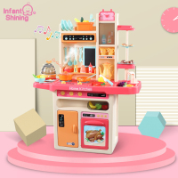Infant Shining Kitchen Toys Pretend Play 65PCS/set Cooking Toys Tableware Sets Baby Kitchen Cooking Simulation
