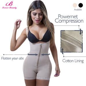 Image 4 - Lover güzellik Fajas Reductora fermuar ve klip lateks bel eğitmen firma kontrol vücut Shapewear Bodysuit Butt kaldırıcı şekillendirme