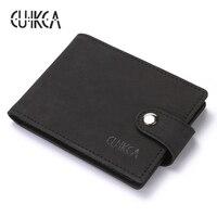CUIKCA Women Men Card ID Holders Nubuck Leather Hasp Ultrathin Slim Wallet Business License Card Case
