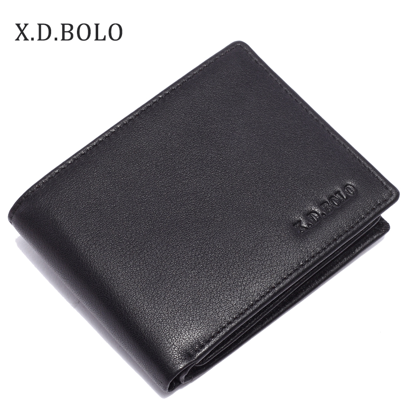 купить XDBOLO Cow Leather Men Wallets with Coin Pocket Fashion Male Purse Function Black Genuine Leather Men Wallet with Card Holders онлайн