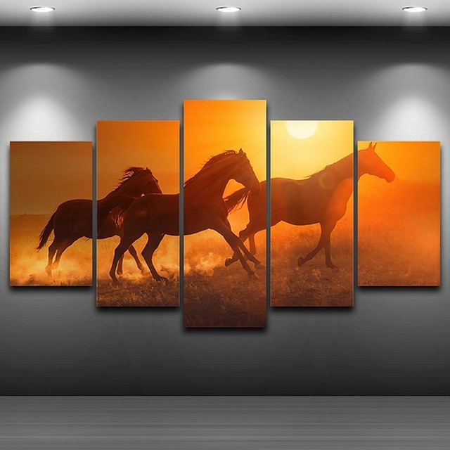 Wall Canvas Art Painting Poster Frame For Room Home Decor 5 Panel Pictures Sunset Animal Horses Modern HD Printed Photo PENGDA