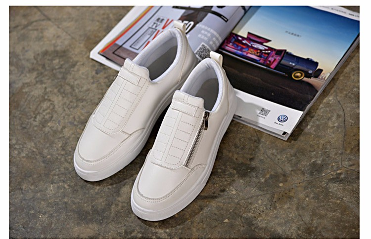 BODNSN Casual Men\'s Skate Shoes Zip Leather Flats 2016 New Solid Round Toe Men\'s Flat Shoes Breathable Fashion Man Shoes PX43 (1)
