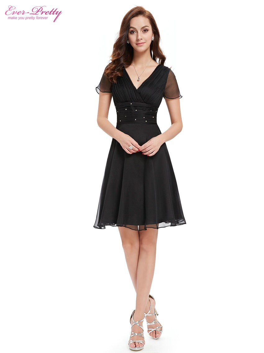 Short Sleeve V Neck Ruched Bust Chiffon Party Dress 4