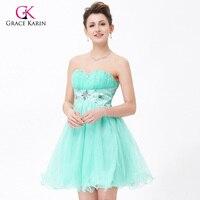 Grace karin aqua prom jurken korte afstuderen jurken voor tieners voile satin puffy promdress formele baljurken galajurken