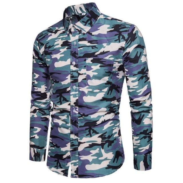 Men Camouflage Printed Slim Fit Casual Shirt