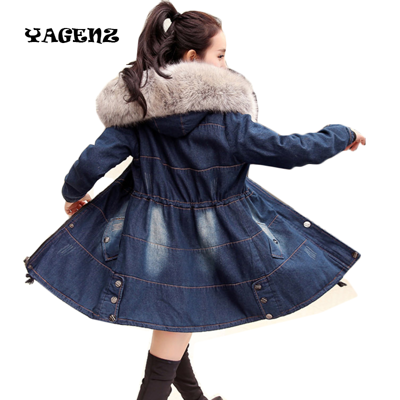 New Coats For Women Casual Denim Jackets Winter Coat Women Raccoon Fur Hooded Thick Warm Outwear Long Cotton Padded Jeans Parkas юбка concept club concept club co037ewxpa58