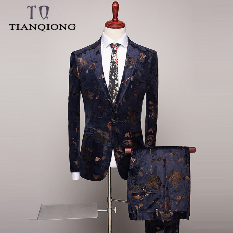 TIAN QIONG Wedding Tuxedo Suits For Men 2 Piece Slim Fit Mens Printed Suit Brand Prom Suit Stage Latest Coat Pant Designs S-4xl