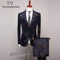 TIAN QIONG Wedding Tuxedo Suits for Men 2 Piece Slim Fit Mens Printed Suit Brand Prom Suit Stage Latest Coat Pant Designs S 4xl